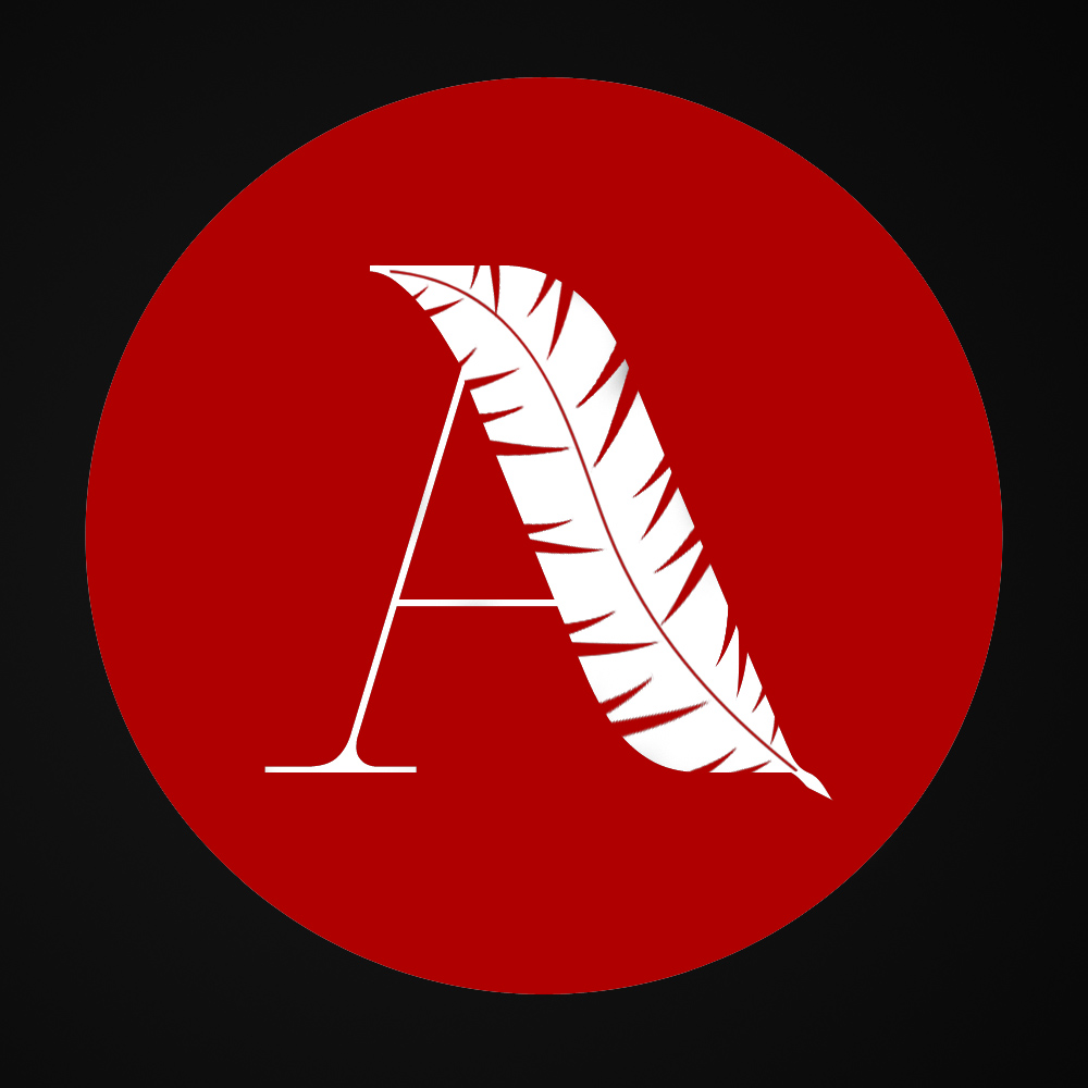 acronym logo A (white font black background red circle)