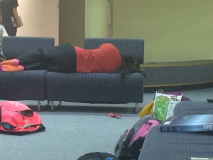 During the final week of Diwali rehearsal, it is common to find dancers asleep in the Old Cafe with backpacks and snacks scattered about.