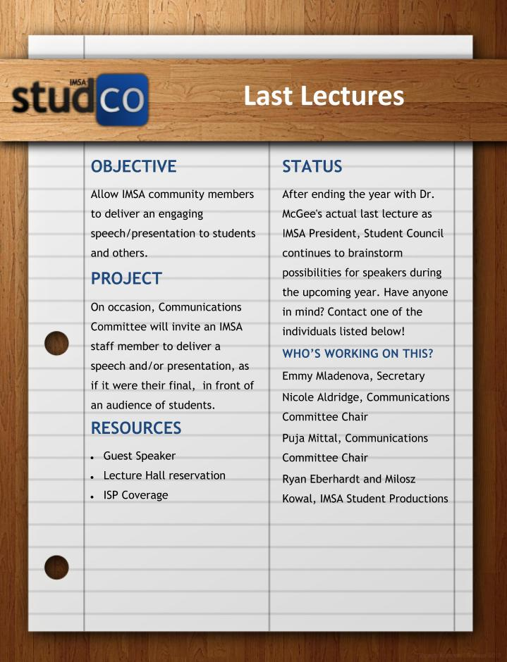 Last Lectures